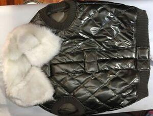 "Snooty Dog Ski Vest Soft Fau Shiny Leather Fur Lined Hood Poly Lining 10-14"" GRN"