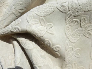 Calfskin cowhide leather Suede hide Ivory Embossed Cactus Design matte finish
