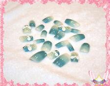 Starsire White Hand Made Bows on Blue Japan Acrylic Fake 24 3D Shiny Full Nails