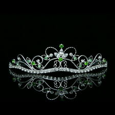 Bridal Green Rhinestone Crystal Flower Prom Wedding Crown Tiara 8376