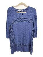 Women's Sz L Habitat Shirt Textured Purple 3/4 Sleeve Cotton Tunic Top Blouse