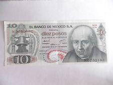 MEXIQUE-BILLET 10 PESOS-1974-ETAT SUP