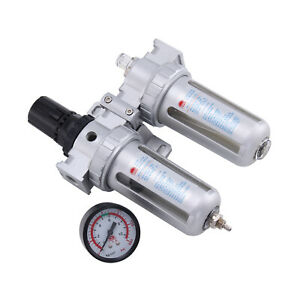 1/4'' Air Line Filter Separator Regulator Compressor Gauge Water Oil Trap New