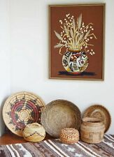 Native American Hopi Pottery Finished Crewel Needlepoint Embroidery Wall Art