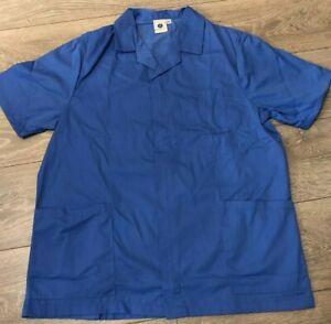 Mens hospital blue tunic top Nurse Carer Dentist Work wear Healthcare uniform