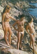 Org 1960s French Nude Pinup PC- Naturisme- Ile Du Levant- Men & Women- On Cliff
