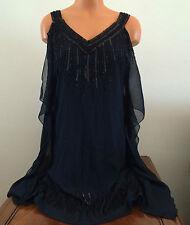 JKARA Womens Size 6 Navy Blue Sleeveless V Neck Beaded Party Dress Above Knee