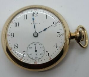 Antique Working 1905 ELGIN 15J Victorian Gold Filled G.F. Gents Pocket Watch 18s
