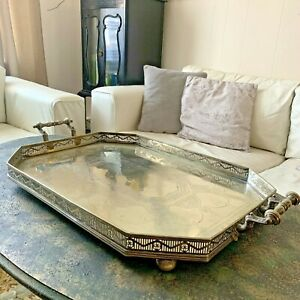 ANTIQUE SILVER PLATED BUTLERS TRAY SERVING TRAY SILBER & FLEMING 1800'S