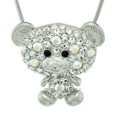 Bear Pendant Made With Swarovski Crystal AB Clear Color Teddy Charm Necklace