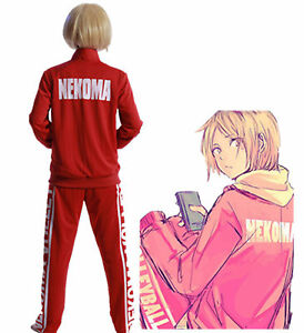 Haikyu Nekoma High School Uniform Red Sportwear Suit Cosplay Costume Unisex
