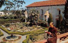 Solvang California~Mission Santa Ines~Capuchin Franciscan Monk Reads~Garden~1960