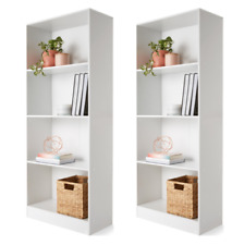 Set of 2 - 4 Tiered Bookshelf Display Shelf Bookcase Book Storage Shelves Office