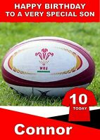 personalised Birthday card Rugby Wales inspired Any name/age/relation