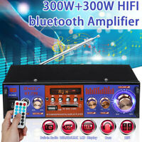 300W+300W HIFI Digital bluetooth Amplifier Stereo Audio FM Radio SD Mic Car