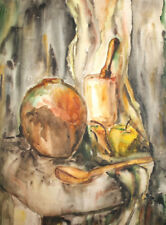 Vintage watercolor painting still life impressionism