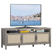 """TV Stand Entertainment Media Center for TV's up to 65"""" w/ Rattan Doors Grey Oak"""