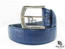 "PELGIO Genuine Crocodile Alligator Belly Skin Leather Men's Belt 46"" Long Blue"