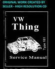 1973 1974 VW Thing Type 181 Shop Manual Service Book Guide Hi-Res on a CD