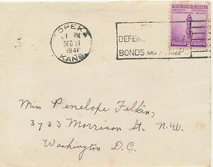 """USA 1941, 3 C for Defence with slogan of """"TOPEKA / KANS."""" on fine cover"""