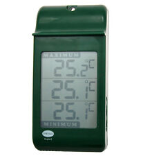 LARGE DIGITAL MAX MIN THERMOMETER IN GREEN - GREENHOUSE GARDENING - 12/427/3
