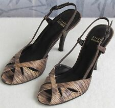 7.5 | Stuart Weitzman Brown Leather Croc Emboss Women Open Toe Pump Heel Sandal