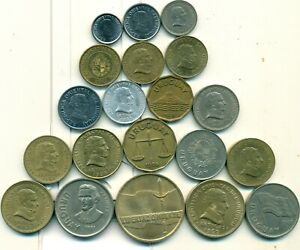 20 DIFFERENT COINS from URUGUAY (20 DIFFERENT TYPES/9 DENOMINATIONS/1953-2012)