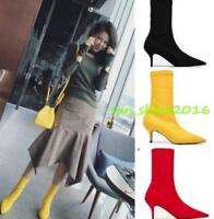 Women's kitten heel pointed toe pull on knitted shoes Stretchy Sock ankle bootes