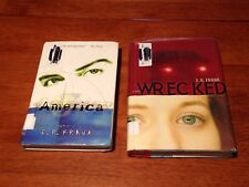 E.R. FRANK BOOK LOT OF 2 USED HARDCOVER NOVELS * AMERICA & WRECKED *