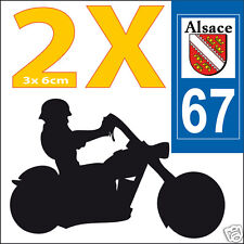 2 stickers autocollants style plaque immatriculation moto Département 67