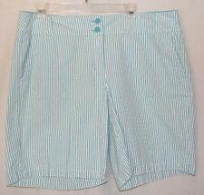 NEW YORK & CO. Manhatton Chino shorts sz 16  Teal/white stripe Cute!