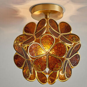 Petal Glass Ceiling Light Fixture, Flower Pendant Lamp for Bar Kitchen Aisle Bar