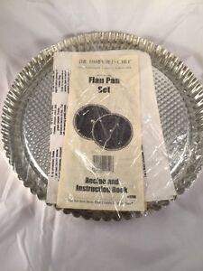 """PAMPERED CHEF 10"""" FLAN Pan SET - Pie Tart Torte Boston Cream Pie Baking Recipes"""