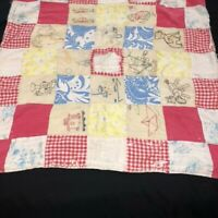 Vintage Patchwork Baby Quilt Hand Embroidered Double Sided Cutter Craft Flaws