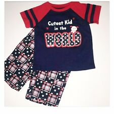 Boys 12M 'Cutest Kid In The World' Red Blue Short Sleeve Short Outfit