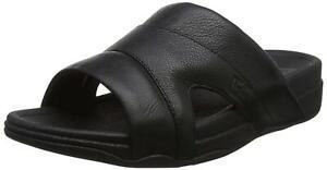 FitFlop Men's Freeway Pool Slide in Leather Sandal, Black, Size 9.0 T2YG
