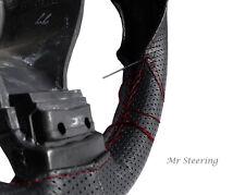Per VW Eos 06-12 nero perforato in pelle Volante Copertura Rosso Scuro Stitch