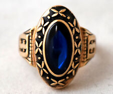 """Vintage Jostens 10K Solid Yellow Gold and Spinel """" BA """" Ring Size 6 1/3"""