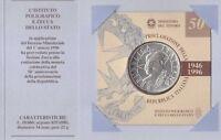 ITALY - RARE SILVER 10000 LIRA UNC COIN 1996 YEAR KM#179 50 ANNI REPUBLIC FOLDER
