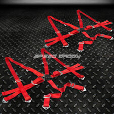 Pair Of 6 Point Adjustable Racing Seat Belt Harness 2 Red Strap Camlock Style