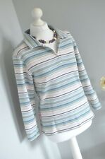 JOULES Green striped cotton blend jersey top MEDIUM 10 ish