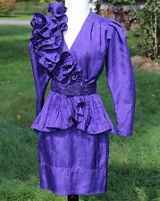1980's Purple Disco Dress Shoulder Ruffle size S Wiggle Skirt Polyester EUC