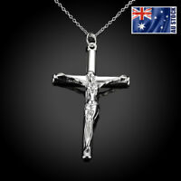 WOMEN MEN 925 Sterling Silver Filled Jesus Cross Crucifix Pendant Necklace