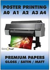 POSTER PRINTING 260gsm Gloss Satin or Matt Paper Finish A0 A1 A2 A3 A4 A5 Prints