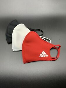 Three Pack Adidas Red White Black Athletic Face Mask Cover Adult Size Large Mult