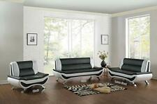 Contemporary Bonded Leather 3-Piece Aldo Modern Sofa Set - Black/White Chair
