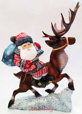 Santa Claus on reindeer Ded Moroz Russian Wooden Carved Hand Painted Great #30