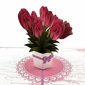 Pink Tulips 3d Pop Up Card