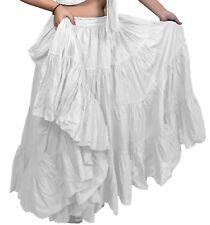 """Blanco Americano Tribal Gypsy 25 YD (approx. 22.86 m) yarda danza del vientre falda de algodón L38/39"""" ATS"""