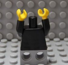 LEGO Solid Black Minifig Torso with Yellow Hands